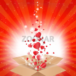Gift Box With Stars And Hearts