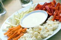 raw vegetable in pieces with dip