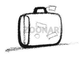 sketched suitcase