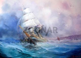 Seascape. Sea breeze.
