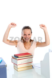 Jubilant young student
