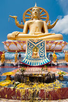 Big golden Buddha statue. Thailand