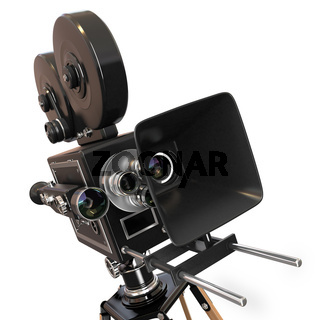 Vintage movie camera on white background. 3d