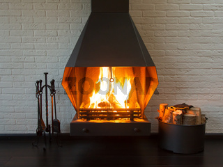 Fireplace on a white wall