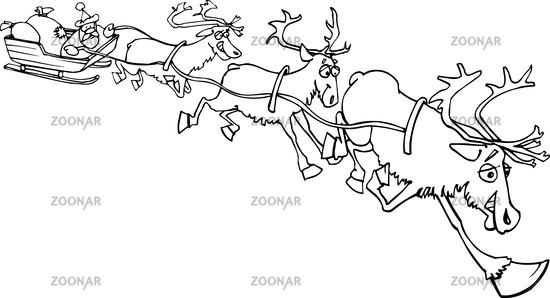 Santa sleigh оленей красный силуэт сток вектор стоковая фотография