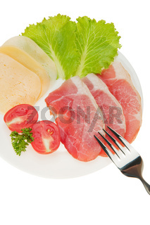 Meat cutting with vegetables and cheese