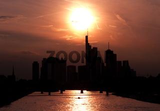 Golden sunset over Frankfurt
