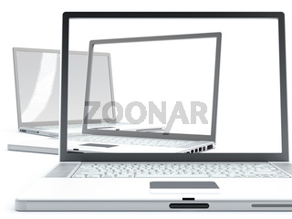 Modern laptops with transparent screens on a white background