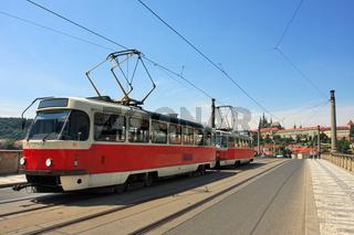 Tram on the bridge. Prague, Czech Republic.