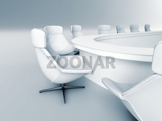rounded table is surrounded white leather chairs in a light room