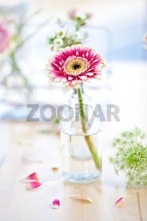 Frische Blumen in kleinen Flaschen