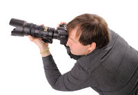 Men with digital camera
