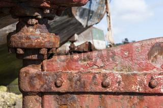Detail von Schiffswrack im Hafen von Camaret-sur-M