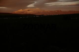 Eyjafjallajökull volcano as seen from Hvolsvöllur. Suðurland  (South Iceland).