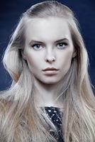 closeup of beautiful blonde woman with long hair