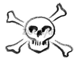 skull and crossed bones sketch