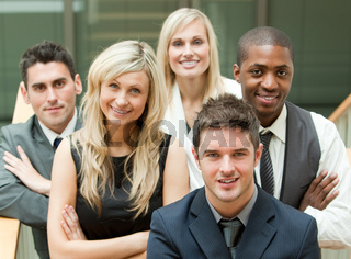 Businesspeople in a stairs