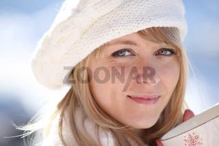 Woman enjoying a hot drink
