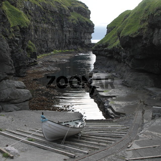 Harbour of the Gjógv village on the Faroese island of Eysturoy