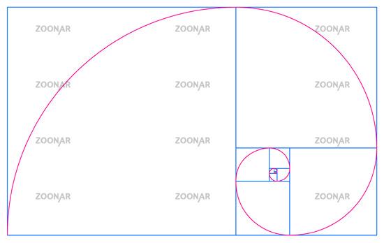 Goldenen Schnitt photo fibonacci spirale im goldenen schnitt blau rot auf weiß