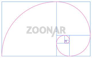 Fibonacci Spirale im goldenen Schnitt - Blau Rot auf Weiß