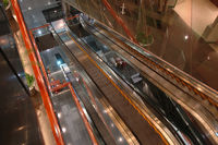 The escalators in the airport and entertainment center