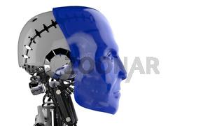 Seitenansicht - Roboter Kopf Blau