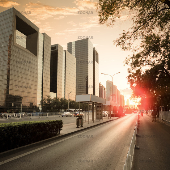city traffic in dusk
