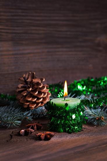 burning candle for christmas