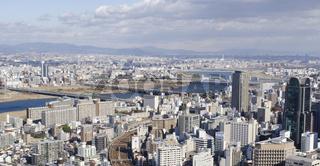 Panoramablick auf Osaka und Toyonaka