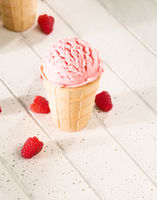one raspberry ice cream from top