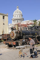old train in front of Capitol, old town of Havana