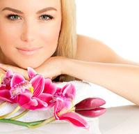 Closeup portrait of attractive female in spa