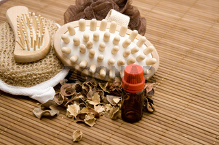 Massagebuerste mit Flasche