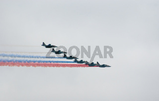 Su-25 planes paint Russian flag