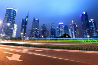 light trails in shanghai