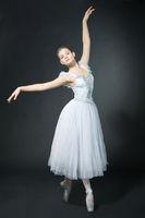 Beautiful girl dances in a ballet dress, on pointe