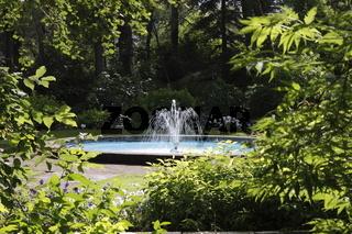 Fountain the Akureyri Botanical Gardens. Eyjafjörður