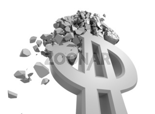 Rendered image of Dollar sign crumbling