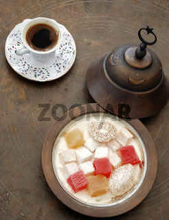 A cup of Turkish Coffee and a bowl of Turkish Delight. ( Loukoum )Sultanhamet