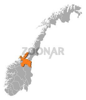 Map of Norway, Sør-Trøndelag highlighted
