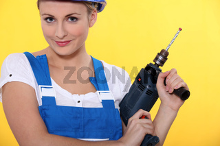 portrait of a woman with drill