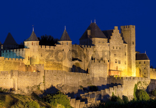 Medieval town of Carcassonne at night