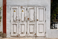 Old white doors.