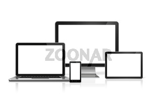 computer, laptop, mobile phone and digital tablet pc