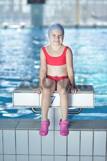 happy child on swimming pool