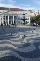 Lisbon's downtown main square with National theatre on the back