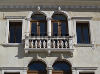 Detail of a beautiful facade. Renaissance building in Treviso, Italy
