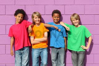 group of diverse mix race kids