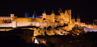 Carcassonne castle at night, France